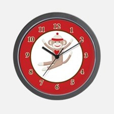 Sock Monkey clock - Red Wall Clock
