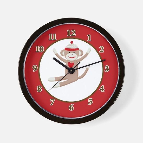 Sock Monkey clock - Red Wall Clock