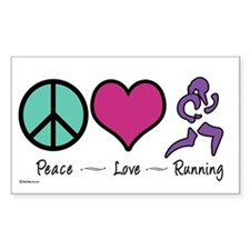 Peace- Love- Running Rectangle Decal