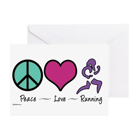 Peace- Love- Running Greeting Cards (Pk of 10)