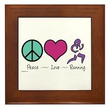 Peace- Love- Running Framed Tile