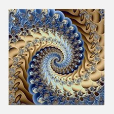 Cute Brown blue Tile Coaster