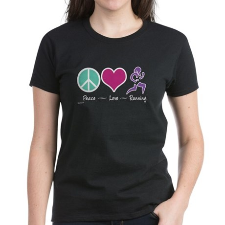 Peace- Love- Running Women's Dark T-Shirt
