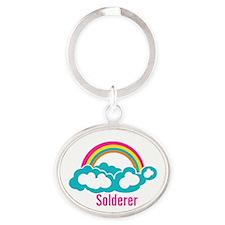 Rainbow Cloud Solderer Oval Keychain