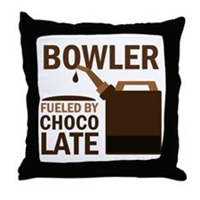 Bowler Fueled by chocolate Throw Pillow