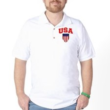 Patriotic U.S.A American Flag Shield T-Shirt
