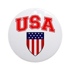 Patriotic U.S.A American Flag Shield Ornament (Rou
