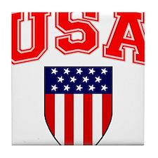 Patriotic U.S.A American Flag Shield Tile Coaster