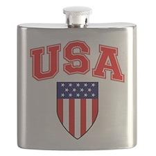 Patriotic U.S.A American Flag Shield Flask