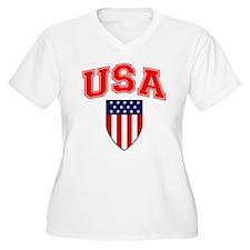 Patriotic U.S.A American Flag Shield Plus Size T-S