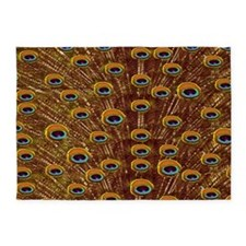 Yellow Peacock Feathers 5'x7'Area Rug