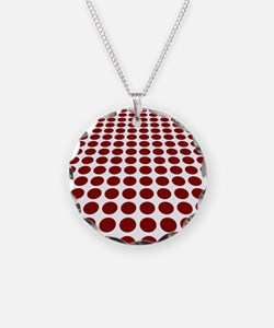 Red and White Optical Illusion Dot Pattern Necklac