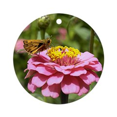 Butterfly on Flower Ornament (Round)