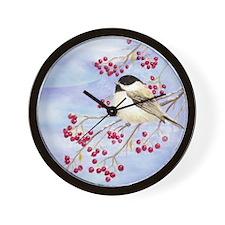 Funny Chickadees Wall Clock