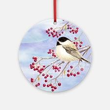Cute Chickadee Round Ornament
