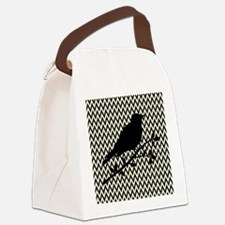 Bird Silhouette on Chevrons Canvas Lunch Bag