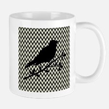 Bird Silhouette on Chevrons Mugs