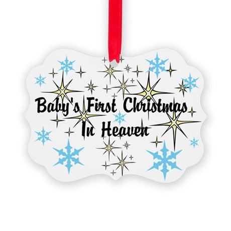 Baby's First Christmas In Heaven Picture Ornament