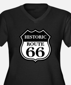 Historic Rte. 66 Women's Plus Size V-Neck Dark T-S