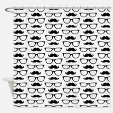 Hipster Mustache and Glasses Dot Pattern Shower Cu