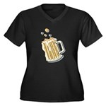 Retro Style Beer Women's Plus Size V-Neck Dark T-S