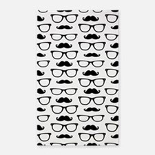 Hipster Mustache and Glasses Dot Pattern 3'x5' Are