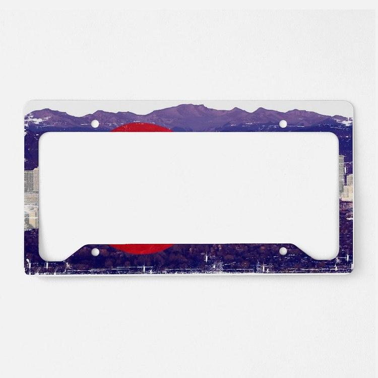 Denver Flag Skyline License Plate Holder