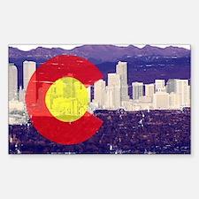 Denver Flag Skyline Sticker (Rectangle)