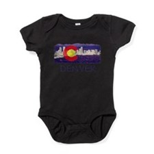 Denver Skyline Flag Baby Bodysuit