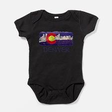 Denver Skyline Flag Baby Bodysuit