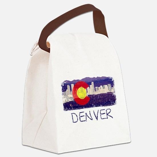Denver Skyline Flag Canvas Lunch Bag