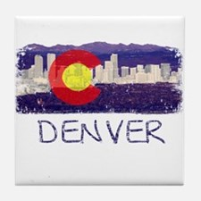 Denver Skyline Flag Tile Coaster
