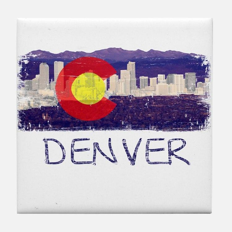 Denver Skyline Flag Tile Coaster