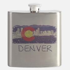 Denver Skyline Flag Flask