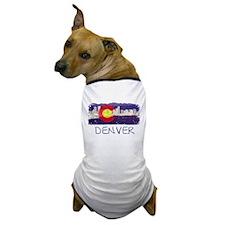 Denver Skyline Flag Dog T-Shirt