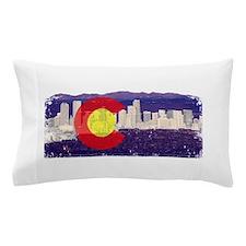Denver Skyline Flag Pillow Case