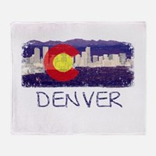 Denver Skyline Flag Throw Blanket