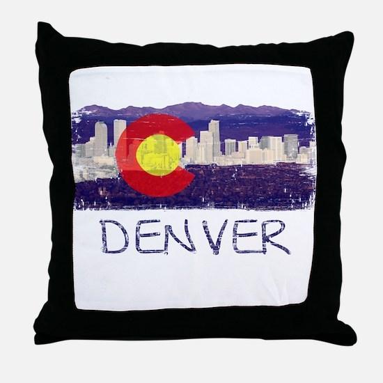 Denver Skyline Flag Throw Pillow