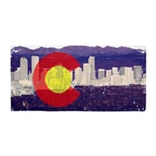 Denver Skyline Flag Beach Towel