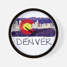 Denver Skyline Flag Wall Clock