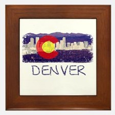Denver Skyline Flag Framed Tile