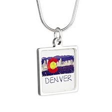 Denver Skyline Flag Silver Square Necklace