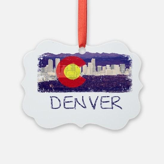 Denver Skyline Flag Ornament