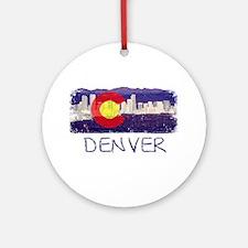 Denver Skyline Flag Ornament (Round)