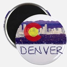Denver Skyline Flag Magnet