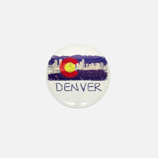 Denver Skyline Flag Mini Button