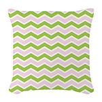 Pink Green Chevron Woven Throw Pillow