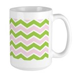 Pink Green Chevron Large Mug