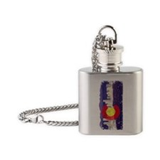 Denver Skyline Flag Flask Necklace