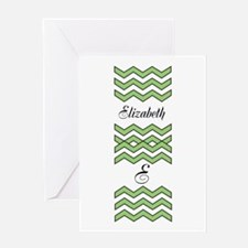 Customize Green Chevron Greeting Cards